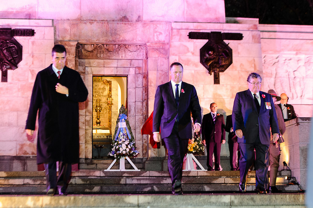 Prime Minister Rt hon John Key after laying a wreath at the  Dawn service of remembrance and hope, 25 April, 2914 Wellington Cenotaph, Lambton Quay. <br /> <br /> Photo by Mark Tantrum   www.marktantrum.com