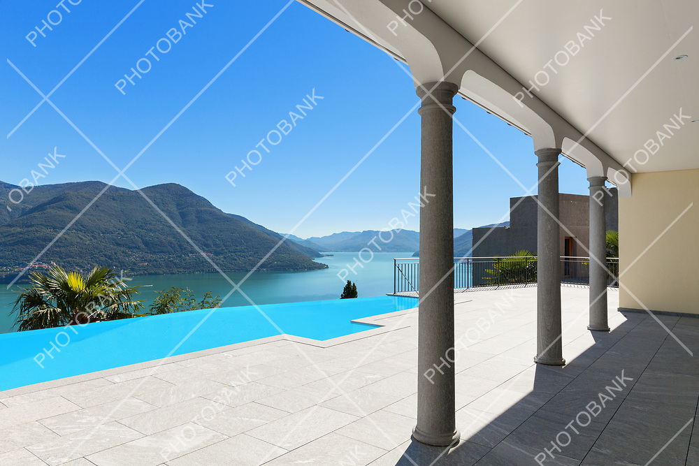 Lake Maggiore, view from the porch of an a house, Ticino, Switzerland