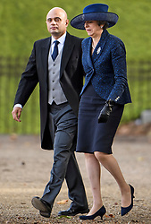 © Licensed to London News Pictures. 23/10/2018. London, UK. Home Secretary SAJID JAVID and Prime Minister THERESA MAY attend a ceremony on Horse Guards Parade in London for the arrival of King Willem-Alexander and Queen Maxima of the Netherlands as part of a state visit to the UK. Photo credit: Ben Cawthra/LNP