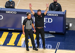 Jan 25, 2021; Morgantown, West Virginia, USA; Texas Tech Red Raiders head coach Chris Beard argues a call during the second half against the West Virginia Mountaineers at WVU Coliseum. Mandatory Credit: Ben Queen-USA TODAY Sports