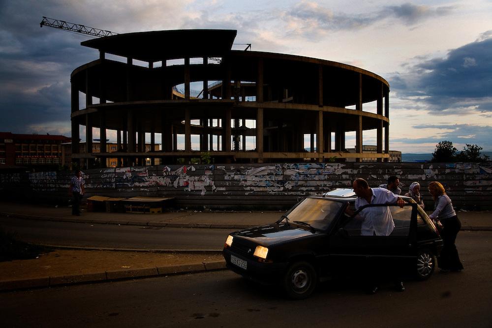 A broken-down car in Prishtina, Kosovo.