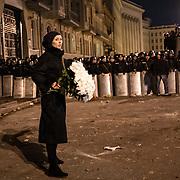 Manifestation d'opposition à Kiev - Ukraine ayant rassemblé près de 500000 personnes le dimanche 1er décembre 2013. Des manifestants se sont opposés aux forces de l'ordre ax abords du palais présidentiel.