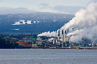 Harmac Pulp Mill, Nanaimo British Columbia, Canada against a backdrop of snow covered hills. (A three line Northern Bleached Softwood Kraft (NBSK) mill, producing around 400,000 metric tons of pulp per annum   Photo: Peter Llewellyn