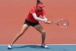 PALEMBANG, Sept. 1, 2018  Yu Yuanyi of China competes during soft tennis women's team semifinal at the 18th Asian Games 2018 in Palembang, Indonesia on Sept. 1, 2018. (Credit Image: © Veri Sanovri/Xinhua via ZUMA Wire)