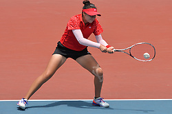 PALEMBANG, Sept. 1, 2018  Yu Yuanyi of China competes during soft tennis women's team semifinal at the 18th Asian Games 2018 in Palembang, Indonesia on Sept. 1, 2018. (Credit Image: © Veri Sanovri/Xinhua via ZUMA Wire)