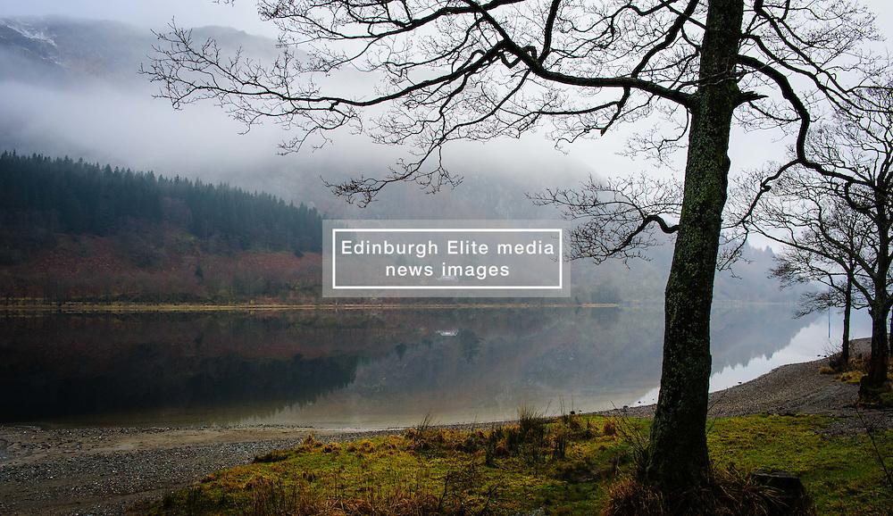 Mist hangs over Loch Lubnaig, near Callander, Stirlingshire on a cold February morning.<br /> <br /> (c) Andrew Wilson | Edinburgh Elite media