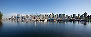 Downtown skyline and yacht harbour seen from Stanley Park.