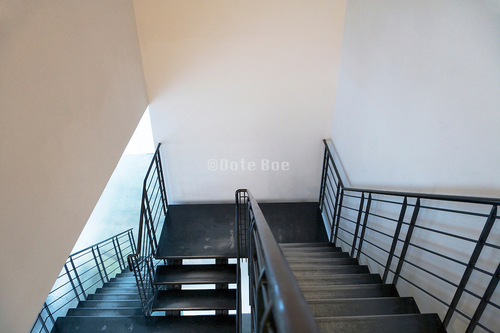 metal stairs in a modern building