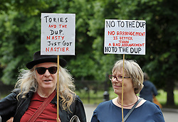 "© Licensed to London News Pictures.  10/06/2017; Bristol, UK. General Election 2017; ""May Must Go Now! Bristol March For Our Future"", rally on College Green, calling on the Prime Minister Theresa May to resign following the general election 2 days ago and the outcome of a hung parliament with the Conservatives having no overall majority and Theresa May seeking to do a deal with the DUP. The event was originally called before polling day on the themes of ""Bristol March for our Future"", ""No more cuts to Health, Schools, care for the elderly and disabled. No to attempts to divide us through racism."" The event is supported by North Somerset National Union of Teachers, Bristol and District Anti Cuts Alliance, No to Bristol School Budget Cuts, Protect Our NHS, Fair Funding For Schools, Bristol Stand Up To Racism, Bristol Unite Composite Branch S/W. Picture credit : Simon Chapman/LNP"