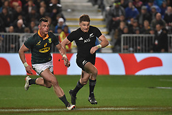 September 16, 2017 - Auckland, New Zealand - Beauden Barrett of All Blacks charges forward during the Rugby Championship test match between the New Zealand All Blacks and the South Africa Springboks at QBE stadium in Auckland on Sep 16, 2017. All Blacks beats Springboks 57-0. (Credit Image: © Shirley Kwok/Pacific Press via ZUMA Wire)