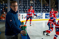 KELOWNA, CANADA - MARCH 13: Spokane Chiefs' equipment manager Tim Lindblade stands on the bench during warm up against the Kelowna Rockets on March 13, 2019 at Prospera Place in Kelowna, British Columbia, Canada.  (Photo by Marissa Baecker/Shoot the Breeze)