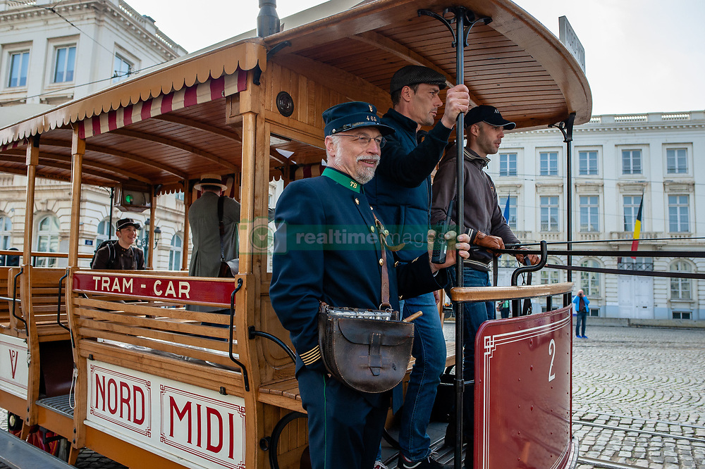 May 1, 2019 - Brussels, North Brabant, Belgium - May 1st, Brussels. A series of festivities are held throughout the week to celebrate 150 years of the tram. On Wednesday, a large parade brought together more than 40 trams of all eras, tracing their history from the horse-drawn trams of the first years to the trams 3,000 and 4,000 that circulate today in the streets of Brussels. The Tram Museum mobilized more than a hundred volunteers to run the Trams Parade. Also, some ten historic vicinal vehicles from all over the country, including a steam tram, were exhibited on Place Royale. But the star of this exhibition was the model of the new TNG tram (the New Generation Tram), currently under construction and whose first copies will circulate on the streets of Brussels in 2020. (Credit Image: © Romy Arroyo Fernandez/NurPhoto via ZUMA Press)