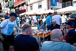 © Licensed to London News Pictures. 29/05/2021. Porto, UK. Manchester City fans gather near the Estádio do Dragão stadium in Porto, Portugal ahead of the Champions League final between Chelsea FC and Manchester City FC. Photo credit: Teresa Nunes/LNP