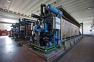 Nosedo, Milano : Impianto di depurazione delle acque reflue. Nella foto le macchine che    compiono la disidratazione del fango. Nosedo Waste Water Treatment plant, mechanical dewatering.