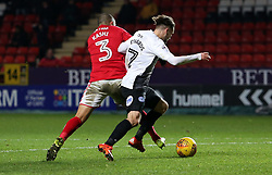 Gwion Edwards of Peterborough United is fouled by Ahmed Kashi of Charlton Athletic but no penalty is given - Mandatory by-line: Joe Dent/JMP - 28/11/2017 - FOOTBALL - The Valley - Charlton, London, England - Charlton Athletic v Peterborough United - Sky Bet League One