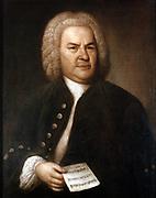 Johann Sebastian Bach (1685-1750) in 1746. German composer and organist. Portrait by Elias Gottlieb Haussman. Stadtgeschichtliches Museum, Leipzig