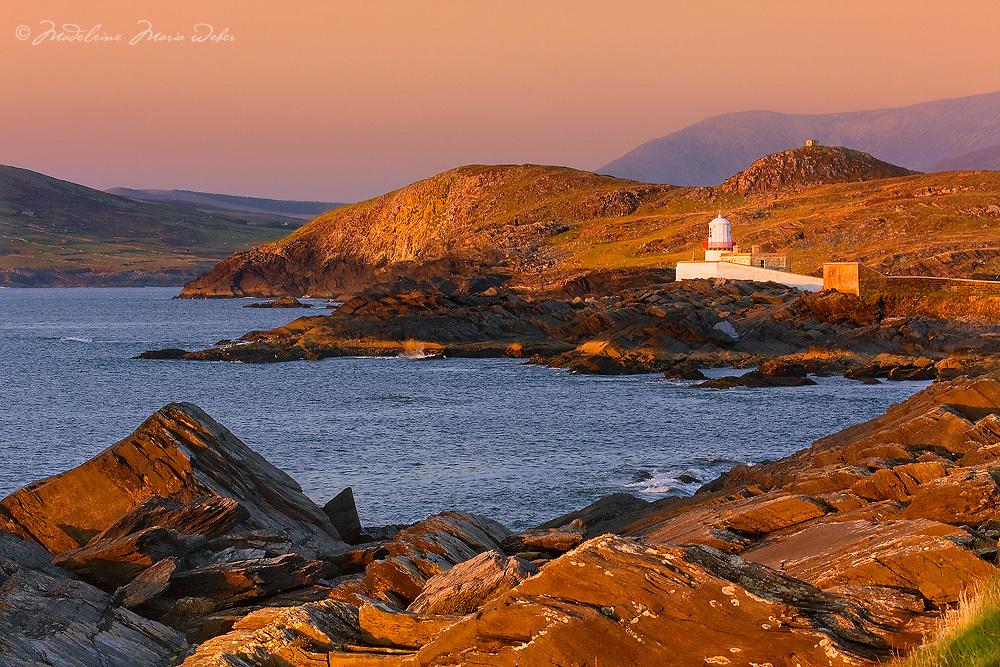 Ireland Lighthouse Valentia Island with View on Begenish Island and calm sea, Iveragh Peninsula, Ireland  / vl109
