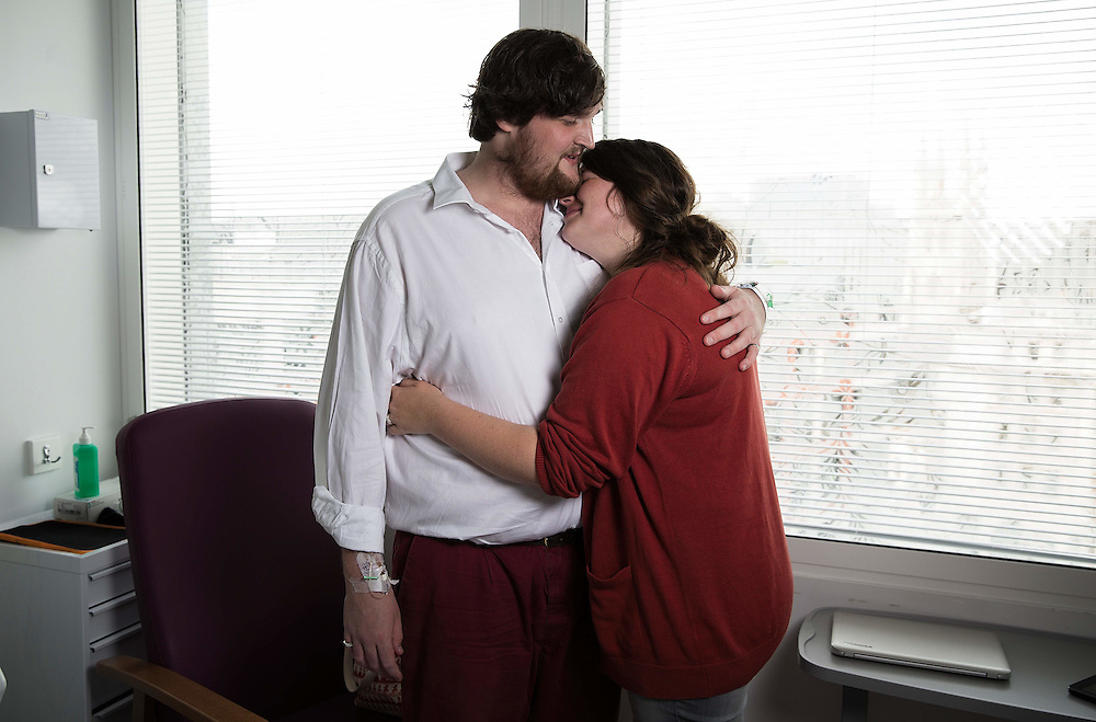 John Underwood & girlfriend Ella Risbridger taken at St Barts hospital whilst John undergoes chemothearpy   on August 6.  2015.<br /> <br /> Photos Ki Price