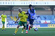 Wycombe Wanderers defender Joe Jacobson (3)battles for possession  with Norwich City forward Teemu Pukki (22) during the EFL Sky Bet Championship match between Wycombe Wanderers and Norwich City at Adams Park, High Wycombe, England on 28 February 2021.