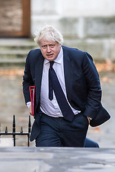 © Licensed to London News Pictures. 28/11/2017. London, UK. Foreign Secretary Boris Johnson arrives on Downing Street for the weekly Cabinet meeting. Photo credit: Rob Pinney/LNP