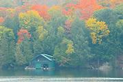 Boathouse in fog in autumn<br /> Muskoka<br /> Ontario<br /> Canada