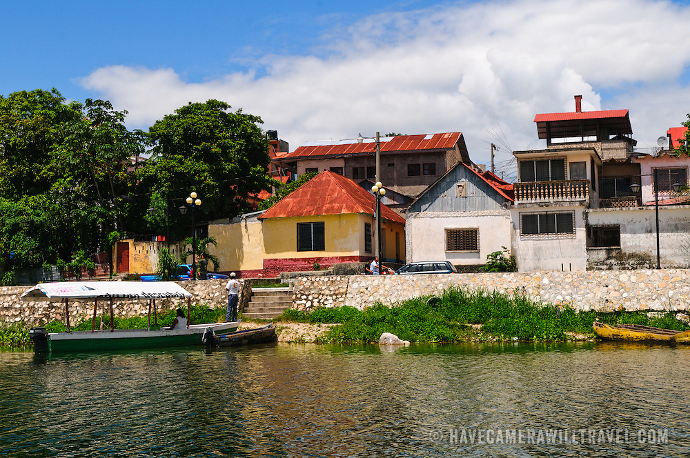 The waterfront of Flores in north Guatemala. The colonial-era town is on a small island in Lake Peten Itza, joined with the mainland by a single causeway.