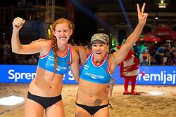 Dalida Vernier and Kelly Claes celebrate victory at Beach Volleyball Challenge Ljubljana 2014, on August 2, 2014 in Kongresni trg, Ljubljana, Slovenia. Photo by Matic Klansek Velej / Sportida.com