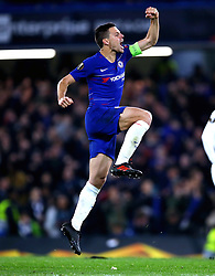 Chelsea's Cesar Azpilicueta celebrates after his team win the penalty shoot out at the end of the UEFA Europa League, Semi Final, Second Leg at Stamford Bridge, London.