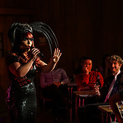 Cherry Bomb presenter of the London Burlesque Festival the VIP Opening Gala at Conway Hall on 18th May 2017, UK. by See Li