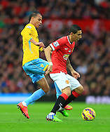 Marouane Chamakh of Crystal Palace pressures Angel di Maria of Manchester United - Manchester United vs. Crystal Palace - Barclay's Premier League - Old Trafford - Manchester - 08/11/2014 Pic Philip Oldham/Sportimage