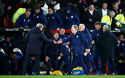 Crystal Palace manager Roy Hodgson (left) and Cardiff City manager Neil Warnock (right) after the final whistle during the Premier League match at Selhurst Park, London.