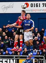 Bristol City's Joe Bryan challenges Oldham Athletic's Luke Woodland - Photo mandatory by-line: Matt McNulty/JMP - Mobile: 07966 386802 - 03/04/2015 - SPORT - Football - Oldham - Boundary Park - Oldham Athletic v Bristol City - Sky Bet League One