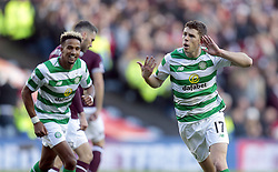 Celtic's Ryan Christie celebrates scoring their third goal against Heart of Midlothian during the Betfred Cup semi final match at BT Murrayfield Stadium, Edinburgh.