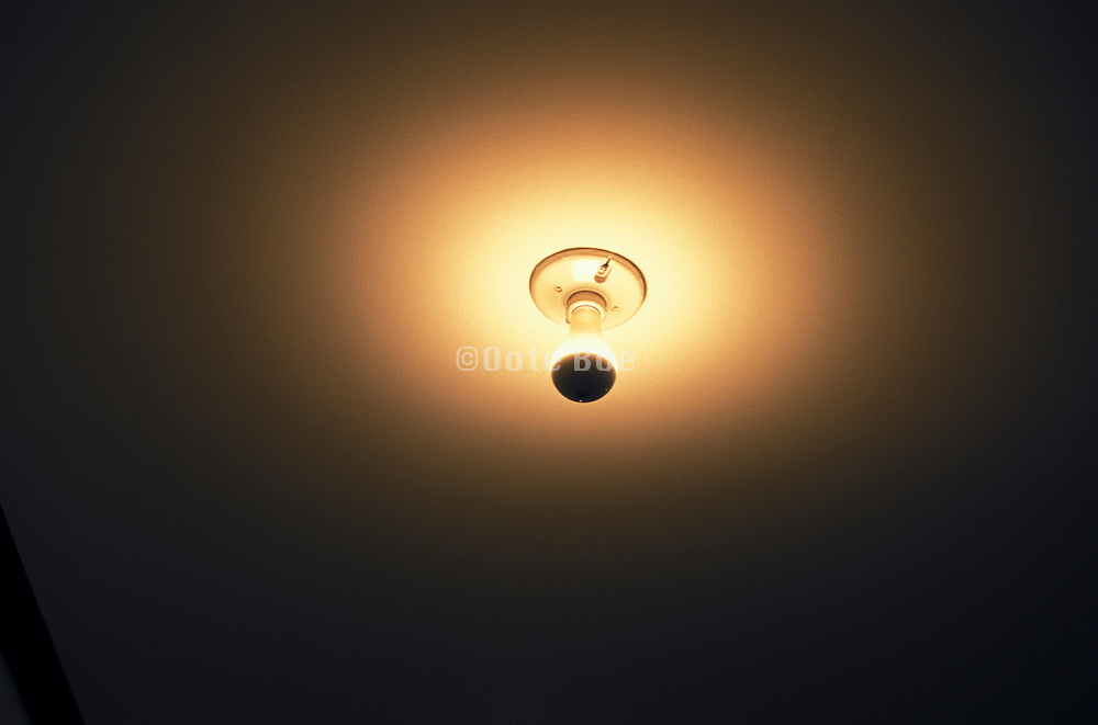 Bare light bulb in ceiling fixture