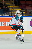 KELOWNA, CANADA - JANUARY 19:  Michael Farren #16 of the Kelowna Rockets skates with the puck against the Prince Albert Raiders on January 19, 2019 at Prospera Place in Kelowna, British Columbia, Canada.  (Photo by Marissa Baecker/Shoot the Breeze)