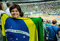 Brasil's fan during friendly basketball match between National Teams of Slovenia and Brasil at Day 2 of Telemach Tournament on August 22, 2014 in Arena Stozice, Ljubljana, Slovenia. Photo by Vid Ponikvar / Sportida