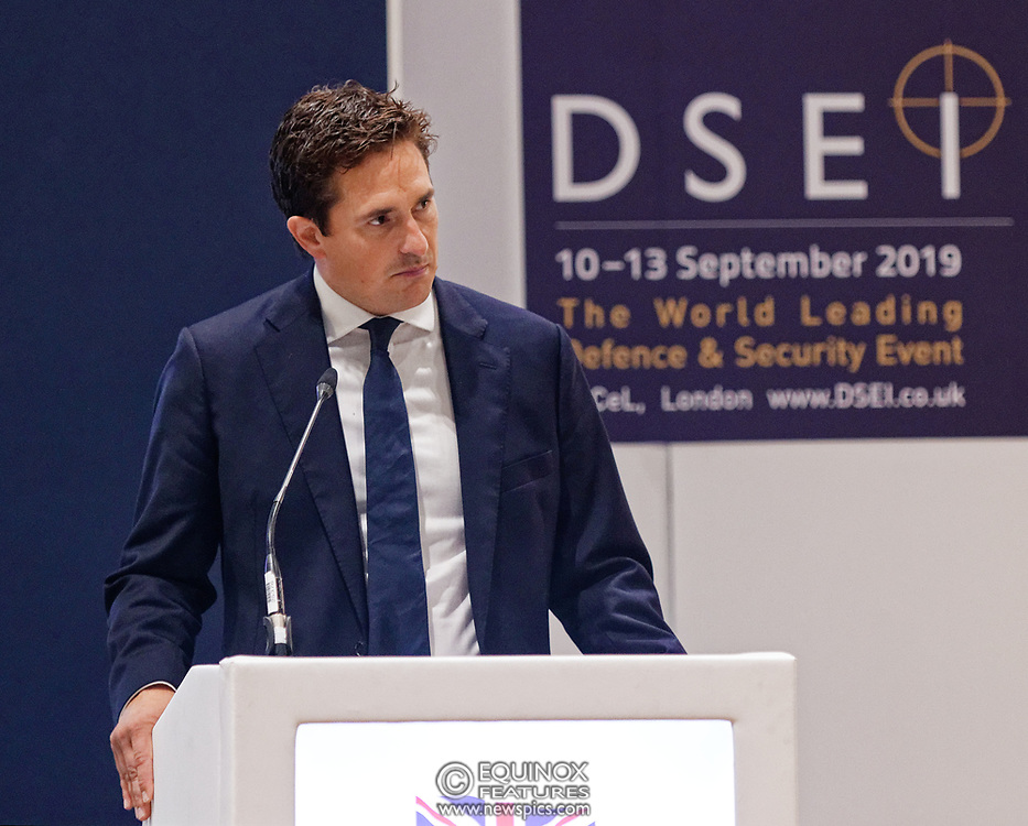 London, United Kingdom - 12 September 2019<br /> Johnny Mercer MP, Parliamentary Under-Secretary of State for Defence People and Veterans for the UK Government gives a keynote address speech and answers questions from the audience at DSEI 2019 security, defence and arms fair at ExCeL London exhibition centre.<br /> (photo by: EQUINOXFEATURES.COM)<br /> Picture Data:<br /> Photographer: Equinox Features<br /> Copyright: ©2019 Equinox Licensing Ltd. +443700 780000<br /> Contact: Equinox Features<br /> Date Taken: 20190912<br /> Time Taken: 10125041<br /> www.newspics.com