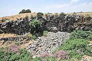 Basalt Columns at the Ayit waterfall, Yehudiya Nature reserve Golan Heights, Israel