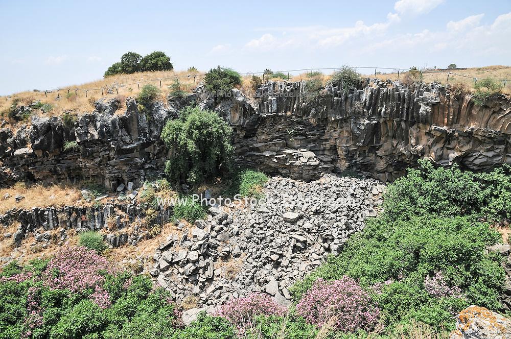 Basalt Columns at the Ayit waterfall, Yehudiya Nature reserve Golan Heights, Israel