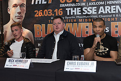 © Licensed to London News Pictures. 24/03/2016. CHRIS BLACKWELL, boxing promotor MICK HENNESSY and CHRIS EUBANK JR attend a press conference for their fight against at SSE Arena Wembley on Saturday 26th March 2016. London, UK. Photo credit: Ray Tang/LNP