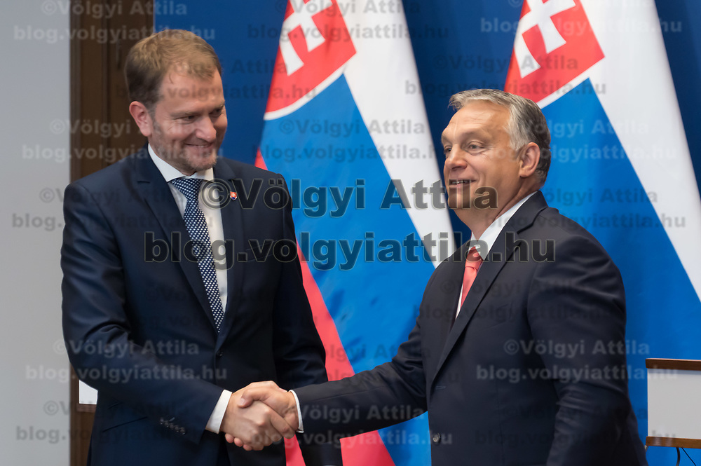 Slovakian prime minister Igor Matovic (L) and Hungarian prime minister Viktor Orban (R) shake hands during a press conference after their meeting in Budapest, Hungary on June 12, 2020. ATTILA VOLGYI