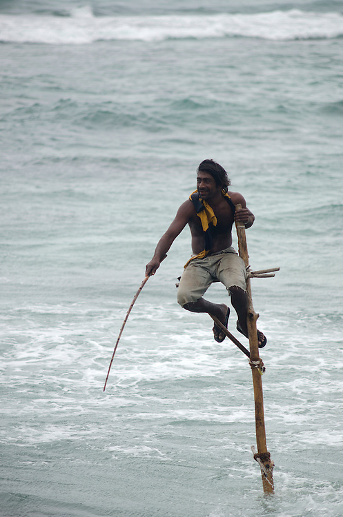Stilt fisherman near Weligama, Sri Lanka