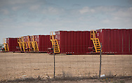 Oil containers in the Permian Basin in West Texas. The Permian Basin is in the northwestern part of Texas and the southeastern part of New Mexico.   Oil has been recovered for decades in the area. The fracking industry recently  revived production and the area is experiencing a new oil boom.