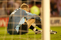 Photo. Glyn Thomas, Digitalsport<br /> NORWAY ONLY<br /> <br /> Sunderland v Crystal Palace. <br /> Division 1 Playoffs, second leg. 17/05/2004.<br /> Sunderland's keeper Mart Poom is a disconsolate figure as he came so close to leading his side to a final place.