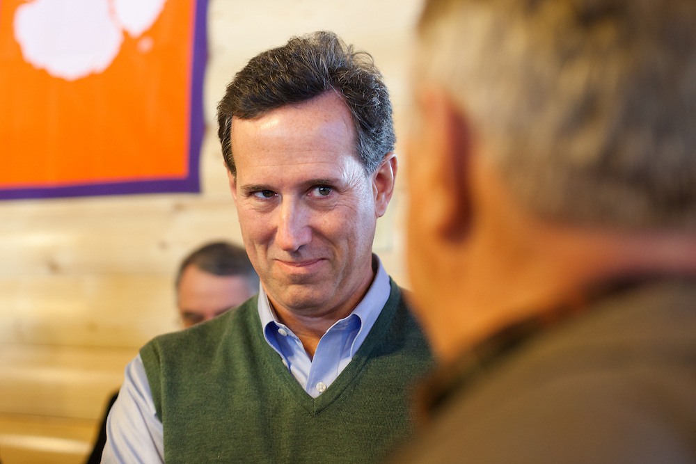 Rick Santorum greets supporters and skeptics after his campaign stop at a Cook-Out restaurant in Gaffney, SC.