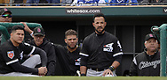 GLENDALE, ARIZONA - FEBRUARY 23:  Avisail Garcia, Yoan Moncada, Jose Abreu and Manager Rick Renteria of the Chicago White Sox look on against the Los Angeles Dodgers on February 23, 2018 at Camelback Ranch in Glendale Arizona.  (Photo by Ron Vesely)  Subject:   Avisail Garcia; Yoan Moncada; Jose Abreu; Ricky Renteria
