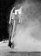 The KISW Miss Rock went air-borne when its driver, Ken Dryden, lost control after the boat's rudder cable broke loose in the south turn during qualifying races on Lake Washington. (Greg Gilbert / The Seattle Times, 1993)