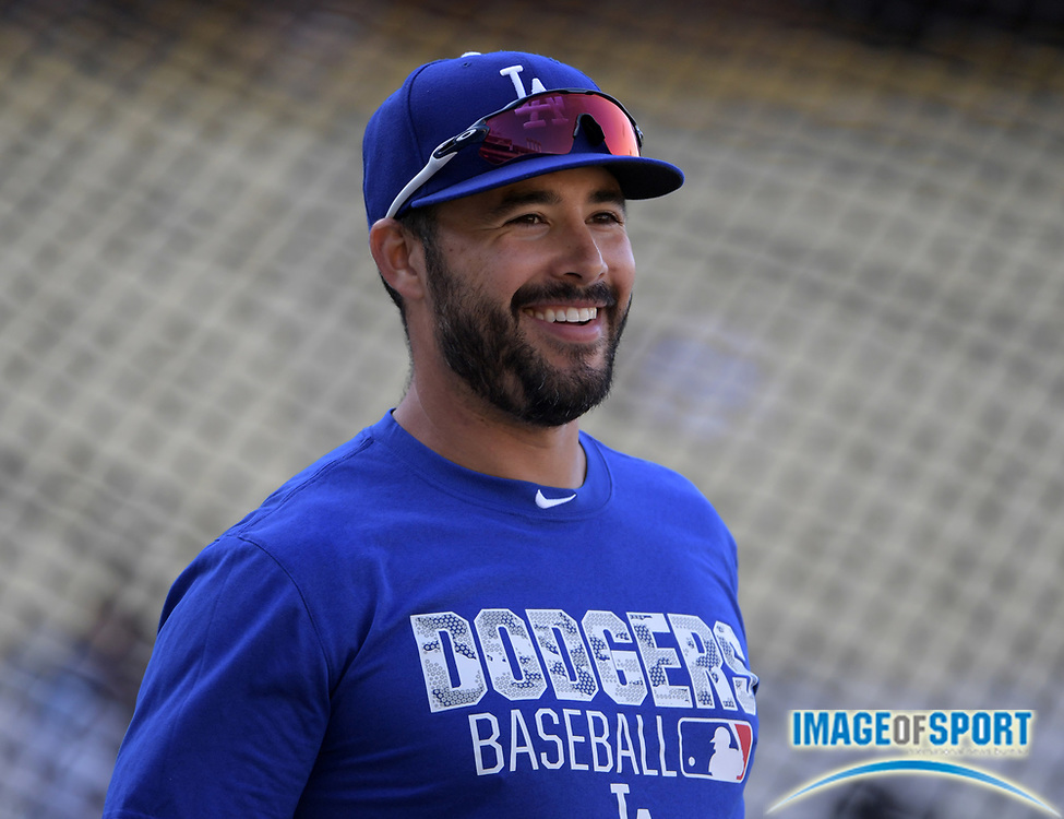 Sep 6, 2016; Los Angeles, CA, USA; Los Angeles Dodgers right fielder Andre Ethier (16) reacts during a MLB game against the Arizona Diamondbacks at Dodger Stadium.