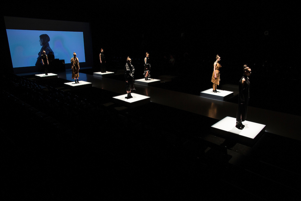 TORONTO, ON - MARCH 14: Models line up for the start of the Sid Neigum show during Toronto Fashion Week in Toronto, Ontario. Toronto Star/Todd Korol