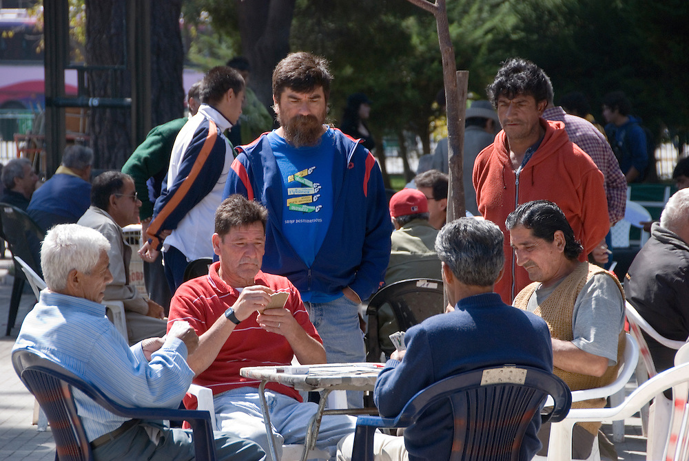 Card game in a park in Valparaiso, Chile.